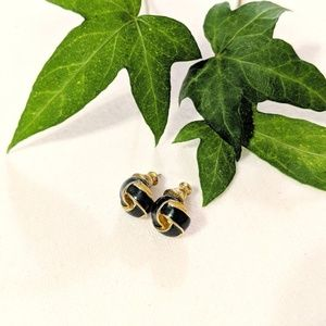 Vintage Navy Enamel Knot Stud Earrings